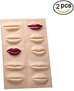 Tattoo Skin Practice for Makeup Lips - Yuelong 2pcs Professional Rubber 3d Cosmetic Permanent Makeup Lips Tattoo Practice Skin, 22 X 19cm Tattoo Fake Skin,Used for Tattoo Kits,Tattoo Supplies