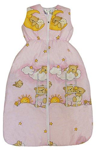 BOMIO Schlafsack Baby ganzjahres/ganzjährig | Baby- und Kleinkinder-Schlafsack | sicherer komfortabler Schlaf | 100% Baumwolle Oeko-Tex zertifiziert | (Bärchen (Rosa), 70 cm (0-6 Monate))
