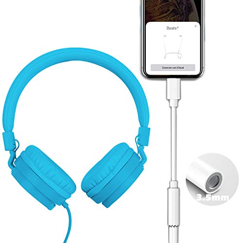BEISK Auriculares Headset Stereo con Adaptador para iPhone con Entrada Cable Audio Jack 3.5mm, Color Azul, para iPhone XS/XS MAX/XR/X / 11/8 Plus / 8/7 Plus / 6 Plus /6, iPads.