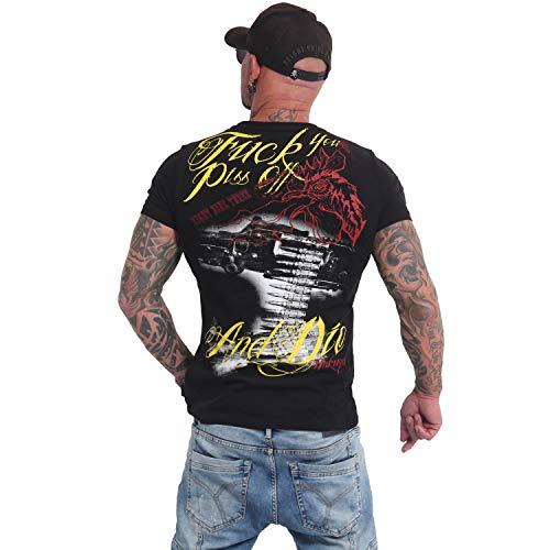 Yakuza Herren Piss Off and Die T-Shirt, Schwarz, M