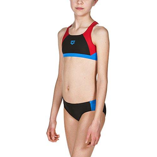 arena Mädchen Sport Bikini Ren (Schnelltrocknend, UV-Schutz UPF 50+, Chlor-/Salzwasserbeständig), Black-Red-Pixblue (504), 140