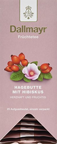 Dallmayr Tee Aufgussbeutel - Hagebutte/Hibiskus Tee, 1er Pack (1 x 75 g)