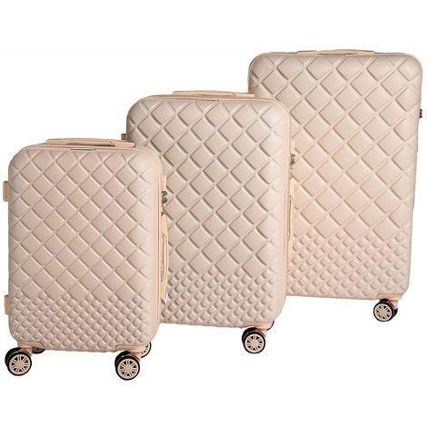 Set 3 Trolley da Viaggio 3 Valigie Rigide ABS Beige in Tre Dimensioni