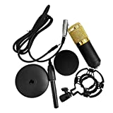 Muslady BM-800 Condenser Microphone Portable High Sensitivity Low Noise Mic Kit for Computer Mobile Phone Studio Live Stream Broadcasting Recording with Round Disk Support