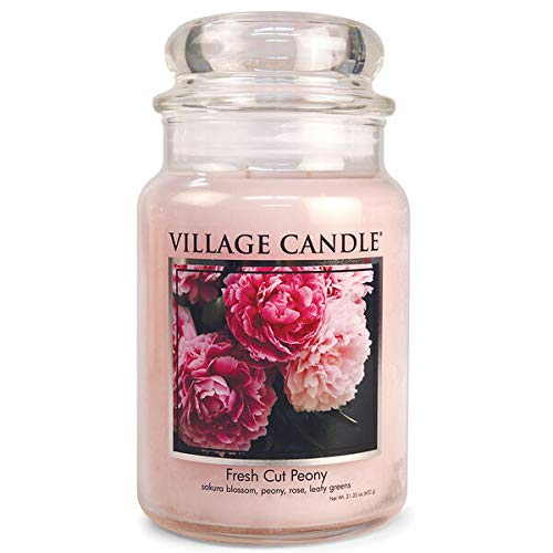 Village Candle Fresh Cut Peony, Small Glass Apothecary Jar, 11 oz
