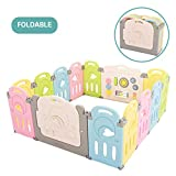 Fortella Cloud Castle Foldable Playpen, Baby Safety Play Yard with Whiteboard and Activity Wall, Indoors or Outdoors (Multicolor 14 Panel)