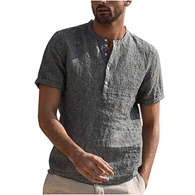 JustWin Men's Button Vintage Cotton Short Sleeve Top Vintage Pure Color Linen Retro Leisure Tshirts Blouse