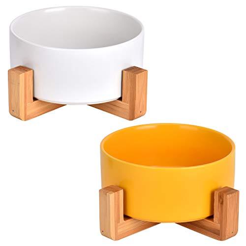 Queta 2 ciotole in ceramica per gatti e cani con supporto in bambù, ciotola in ceramica per cibo per cani e gatti (giallo + bianco)