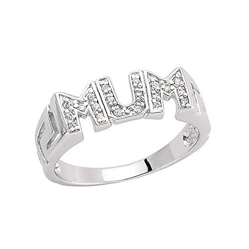 Jewelco London Ladies Rhodium Plated Sterling Silver Cubic Zirconia Greek Key Pave MUM ID Signet Ring, Size L
