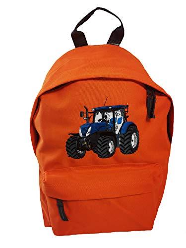 Junior Rucksack Traktor Stickerei Blauer Trecker Schulkinder Rucksäcke (orange)