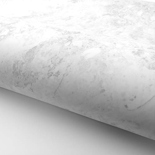 RoyalWallSkins Marble Interior Paper Granite Look Effect Matte - 24' x 78.7' Roll - Peel and Stick Interior Film for Home and Office (White Gray MCP1124MT)