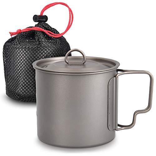 Navaris Camping Becher aus Titan - 600 ml Outdoor Tasse mit Griff und Deckel - Campingtasse Titanium Topf mit Beutel - Ultraleicht robust - in Grau