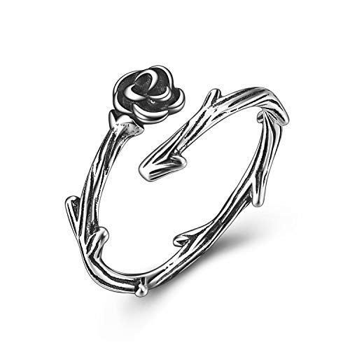 ONEFINITY Adjustable Black Rose Ring Sterling Sliver Rose Ring Celtic Knot Adjustable Band Ring for Women/Men
