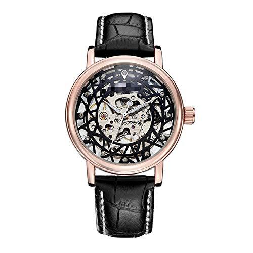 Relojes Mecánicos para Mujer, Relojes De Pulsera De Cuerda Manual para Damas De Diamantes, Regalo De Esfera De Plata Esqueleto De Moda para Mujer 24cm Rosa Negro