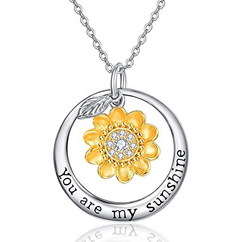 TANGPOET Collar de girasol, collar para hija, collar de plata de ley, colgante de girasol, joyería inspiradora, regalo para mujeres y niñas