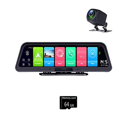 Senmubery 10 Pulgadas 4G + WiFi Dashboard Coche Camera 2GB + 32G 1080P DVR Mirror Recorder con Monitor Remoto, NavegacióN GPS y con Tarjeta 64G