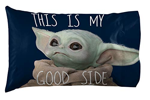 Star Wars The Mandalorian Memes 1 Pack Pillowcase - Double-Sided Kids Super Soft Bedding - Features The Child Baby Yoda (Official Star Wars Product)