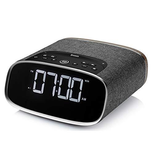 VQ Lark DAB and DAB+ Digital Radio with FM, Bluetooth, Aux, Dual USB & Alarm Clock – Black & Walnut