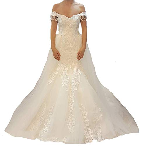 Womens Off The Shoulder Mermaid Wedding Dresses for Bride Beaded Tulle Bridal Gown with Detachable Train Ivory