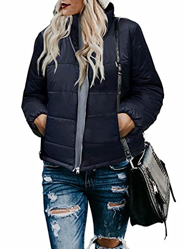 Dokotoo Womens Jackets Fashion Plus Size Warm Ladies Solid Long Sleeve Zipper Open Front Stand Collar Pocketed Classic Lightweight Quilted Down Short Bomber Jackets Outerwear Coats Navy X-Large