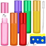 10ml Botellas de Aceite Esencial, 6 Piezas Botellas Recargables de Vidrio con Roll-on Bola de Acero Inoxidable