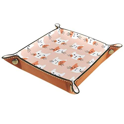 Valet Tray Leder Valet Ring Schmuck Organizer Würfel Box klein Reisezubehör Ablage für Nachttisch oder Eingang für Männer oder Frauen für Reisen, niedliche Katzen