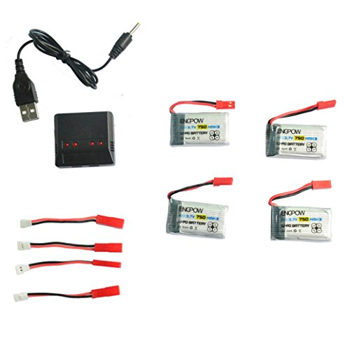 Gbell 4PC 3.7V 750mAh High Capacity Intelligent Flight Lipo Battery + 4 in 1 Charger for MJX X300/X400/X800 RC Quadcopter, (Black)