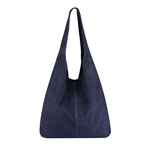 OBC Made IN Italy Damen Leder Tasche Handtasche Wildleder Shopper Schultertasche Hobo-Bag Henkeltasche Beuteltasche Velourleder (Dunkelblau (Wildleder))
