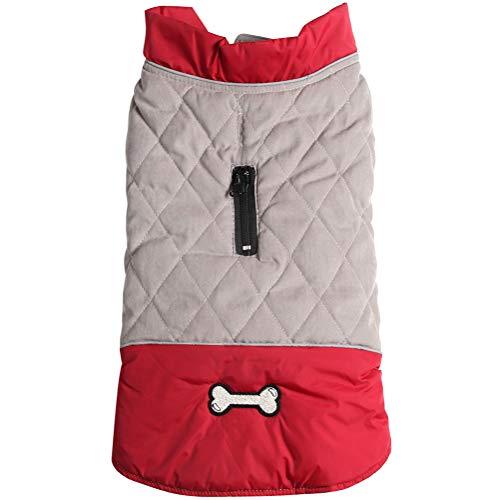 Vecomfy Wendbare Hundemäntel für kleine Hunde, wasserdicht, warme Baumwolle, Welpenjacke für kalten Winter, Rot und Grau, XS