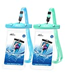 MoKo Waterproof Cellphone Pouch, [2 Pack] Underwater Phone Case Dry Bag with Lanyard Compatible withiPhone 12/iPhone 12 Mini/iPhone 12 Pro/iPhone 12 Pro max/11/11 Pro/11 Pro MAX, Sky Blue+Green