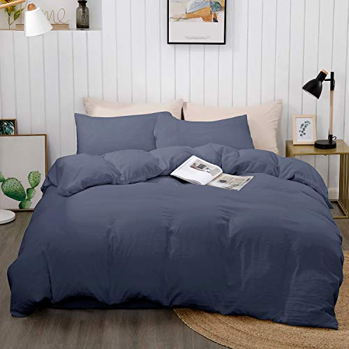 "BEDELITE Duvet Cover King Size, Navy Blue Comforter Cover, Soft Hypoallergenic Washed Microfiber Quilt Cover Set, Duvet Cover with Zipper Closure 3 Piece (Duvet Cover King 104""x90""+ 2 Pillow Shams)"