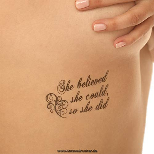 1 x She Believed she Could, so she did Tattoo - Lettering in Black - Temporary Skin Tattoo (1)