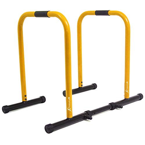ProsourceFit Dip Stand Station, Heavy Duty Ultimate Body Press Bar for Tricep Dips, Pull-Ups, Push-Ups, L-Sits-Yellow