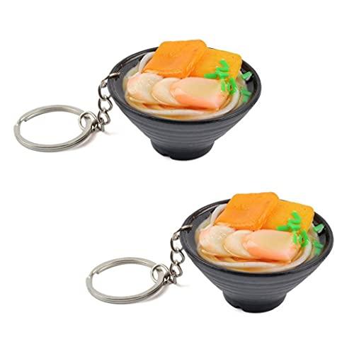 2pcs Muñeco De Muñecas Llavero Miniatura Comida En Miniatura para Simulación Linda Mariscos Fideos Modelo Cocina Fingir Juguete De Comida