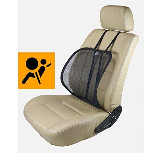 ObboMed SM-7400B Extra Große Verstellbare Ergonomisch Geformte Atmungsaktive Rückennetzstütze Sitzauflage zur Haltungskorrektur beim Sitzen, für Fahrzeug, im Büro oder zu Hause; Noir - 50 x 40 cm