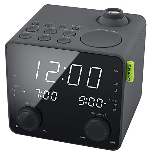 Muse M-189 Radiowecker mit Projektion (2 Weckzeiten, Dimmer, USB-Lader, PLL UKW Tuner, großes Display, AUX-In), schwarz