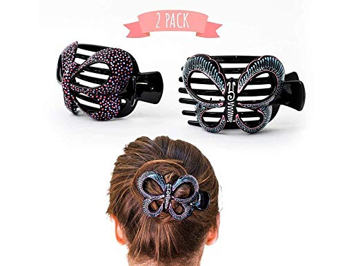 Butterfly Barrettes Hand Painted, Bun Cover Clips, 2 Pcs of a Uniquely Hair Bun Holder. for Thick and Thin Hair. this Attractive Hair Accessory can be used as a Bun Maker or a Hair Claw.