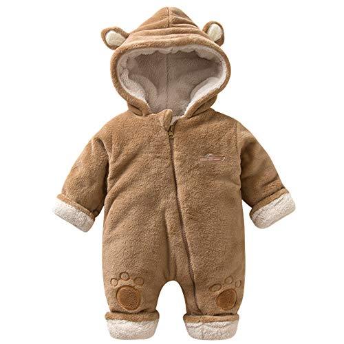 ZHOUZJ Bebé con Capucha Fleece Romper Traje para la Nieve Mono Infantil Trajes, para Bebé niña,otoño Invierno,Marrón,66cm