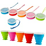 Congis 5 Pack Silicone Collapsible Travel Cup Camping Cup Water Cup, Folding Camping Cup...