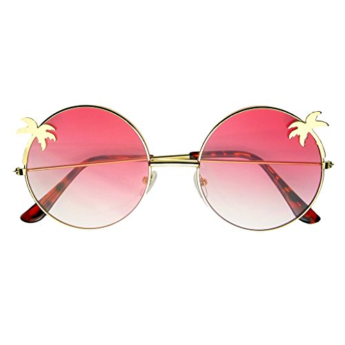 Emblem Eyewear - Indie Palm Tree Gradient Lens Redondo Hippie Gafas De Sol (Rosado)