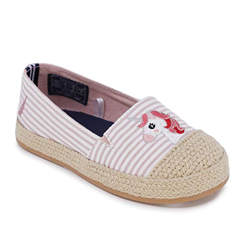 Nautica Kids Girls Flats Slip-On Espadrille Canvas Casual Shoe with Rope Stitching for Toddler and Little Kid-Ancore Toddler-Blush Stripe Unicorn-9