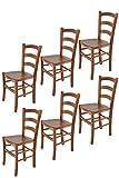 Tommychairs - Set 6 sillas Venice para Cocina y Comedor, Estructura en Madera de Haya Color Nuez Claro y Asiento en Madera