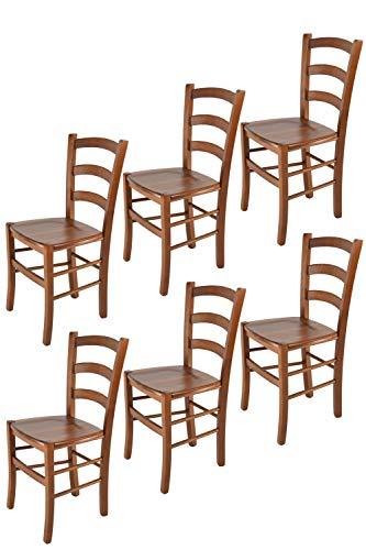 t m c s Tommychairs - 6er Set Stühle Venice für Küche und Esszimmer, robuste Struktur aus lackiertem Buchenholz im Farbton helles Nussbraun und Sitzfläche aus Holz