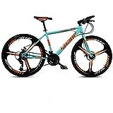 N&I Bicycle 26 inch Mountain Bike Double Disc Brake/High-Carbon Steel Frame Bikes Beach Snowmobile Bicycle Aluminum Alloy Wheels Blue 24 Speed