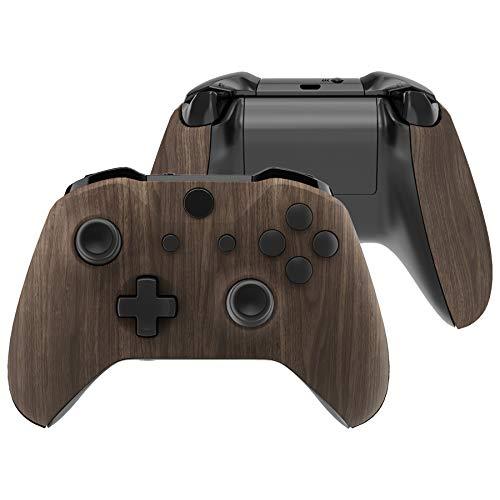 eXtremeRate Cover Grip per Xbox One S X Controller Model 1708, Custodia Frontale Case Scocca Copertura Impugnatura Pannelli DIY Ricambio per Xbox One S X Joystick(Venatura del Legno)