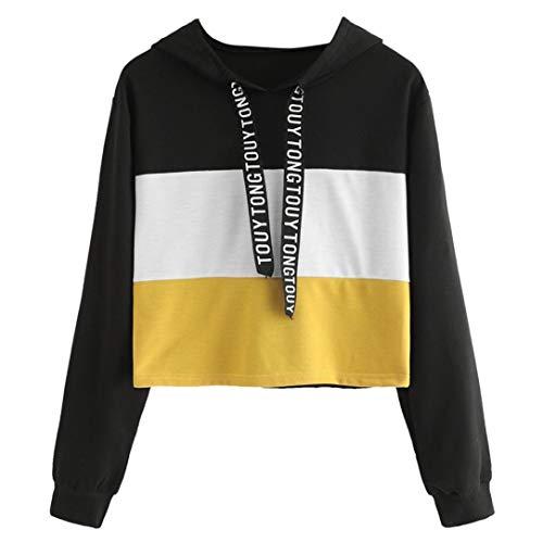 Mujer Sudaderas, ASHOP Blouses For Woman Elegant Embroidery Sweatshirt Sudaderas para Mujer Top Deporte (Negro,L (EU:36-38))