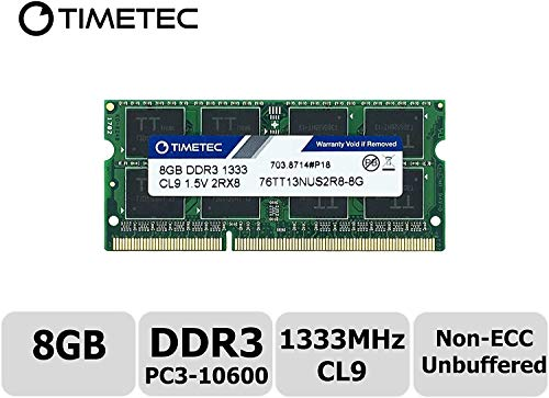Timetec Hynix IC 8GB DDR3 1333MHz PC3-10600 Unbuffered Non-ECC 1.5V CL9 2Rx8 Dual Rank 204 Pin SODIMM Laptop / Notizbuch Arbeitsspeicher Module Upgrade (8GB)