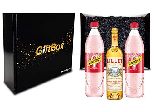Lillet Wild Berry Set/Geschenkset/Gesschenkbox - Lillet Blanc Aperitiv de France 750ml (17% Vol) + 2 Schweppes Wildberry 1L - Inkl. Pfand MEHRWEG