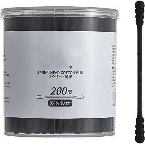 Bdesign Coton écouvillon Double tête bébé Coton Bourgeons Nettoyage des Oreilles cosmétiques Soins de santé Maquillage Outil Remover (2 boîtes) (Color : Black)
