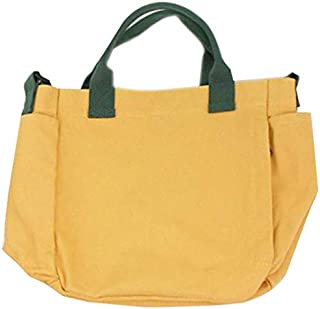 SODIAL Korean Version Of the Department Of Small Fresh Messenger Bag Fashion Wild Color Portable Handbags Casual Art Canvas Shoulder Bag Yellow